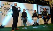 2 April 2017; GAA Healthy Club Ulster Roadshow- inspiring GAA clubs to become hubs for health.  Pictured at the GAA Ulster Healthy Clubs Roadshow is (l-r) MC Eoin Conroy with Olwyn McCambridge and Marie Anne Forester of St Josephs GAC Glenavy, Antrim along with Michael Fennelly, hurler with the Kilkenny senior team . The GAA Healthy Clubs Project (HCP), in partnership with Irish Life and Healthy Ireland, aims to inspire and empower more GAA clubs to support their members and communities in pursuit of better physical, social, and mental wellbeing.  The Ulster Healthy Club Roadshow is the final part of a series of roadshows that took place across the country since January 2017. For more information about the GAA's HCP visit: www.gaa.ie/community. Follow: @officialgaa or Like: www.facebook.com/officialgaa/ GAA Healthy Club Roadshow - Ulster at Jordanstown Ulster University, in Belfast. Photo by Oliver McVeigh/Sportsfile