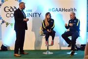 1 April 2017; GAA Healthy Club Ulster Roadshow- inspiring GAA clubs to become hubs for health. Pictured at the GAA Ulster Healthy Clubs Roadshow is (l-r) Aoife O'Brien GAA National Healty club co ordinator and Mickey Harte, manager of the Tyrone senior inter-county team. The GAA Healthy Clubs Project (HCP), in partnership with Irish Life and Healthy Ireland, aims to inspire and empower more GAA clubs to support their members and communities in pursuit of better physical, social, and mental wellbeing.  The Ulster Healthy Club Roadshow is the final part of a series of roadshows that took place across the country since January 2017. For more information about the GAA's HCP visit: www.gaa.ie/community. Follow: @officialgaa or Like: www.facebook.com/officialgaa/ GAA Healthy Club Roadshow - Ulster at Jordanstown Ulster University, in Belfast. Photo by Oliver McVeigh/Sportsfile