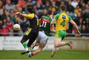 2 April 2017; Cillian O'Connor of Mayo is tackled by Donegal goalkeeper Mark Anthony McGinley, resulting in a Mayo penalty, during the Allianz Football League Division 1 Round 7 match between Mayo and Donegal at Elverys MacHale Park in Castlebar, Co Mayo. Photo by Stephen McCarthy/Sportsfile
