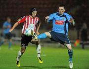 16 September 2011; Mark Farren, Derry City, in action against James Kavanagh, UCD. 2011 Newstalk A Championship Final, Derry City v UCD, Brandywell Stadium, Derry. Picture credit: Oliver McVeigh / SPORTSFILE