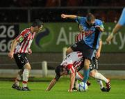 16 September 2011; Seanan McColgan, Derry City, in action against Tomas Boyle, UCD. 2011 Newstalk A Championship Final, Derry City v UCD, Brandywell Stadium, Derry. Picture credit: Oliver McVeigh / SPORTSFILE