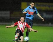16 September 2011; Matthew Harkin, Derry City, in action against Sean Russell, UCD. 2011 Newstalk A Championship Final, Derry City v UCD, Brandywell Stadium, Derry. Picture credit: Oliver McVeigh / SPORTSFILE