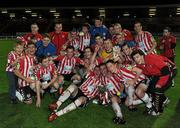 16 September 2011; The Derry City squad celebrate with the cup after the game. 2011 Newstalk A Championship Final, Derry City v UCD, Brandywell Stadium, Derry. Picture credit: Oliver McVeigh / SPORTSFILE