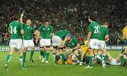 17 September 2011; Ireland players Tommy Bowe, Tom Court Stephen Ferris, Jamie Heaslip and Conor Murray after winning a penalty late in the game to win the match. 2011 Rugby World Cup, Pool C, Australia v Ireland, Eden Park, Auckland, New Zealand. Picture credit: Brendan Moran / SPORTSFILE