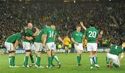 17 September 2011; Ireland players including Stephen Ferris, Paul O'Connell, Sean O'Brien, Tommy Bowe, Tom Court, Brian O'Driscoll, Conor Murray and Cian Healy after winning a penalty late in the game to win the match. 2011 Rugby World Cup, Pool C, Australia v Ireland, Eden Park, Auckland, New Zealand. Picture credit: Brendan Moran / SPORTSFILE