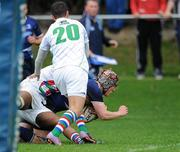 18 September 2011; James McConnon, Leinster, dives for the line to score his team's second try despite the tackles from Exiles players Richard Littlehohn and Jack Wheeler,20. Under 19 White Challenge, Leinster v Exiles, Donnybrook Stadium, Donnybrook, Dublin. Picture credit: Matt Browne / SPORTSFILE