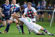 18 September 2011; Niall Lalor, Leinster, is tackled by Chris Delaney, Exiles. Under 19 White Challenge, Leinster v Exiles, Donnybrook Stadium, Donnybrook, Dublin. Picture credit: Matt Browne / SPORTSFILE