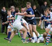 18 September 2011; Michael Mellett, Leinster, is tackled by Hugh Lewis, Exiles, Under 19 White Challenge, Leinster v Exiles, Donnybrook Stadium, Donnybrook, Dublin. Picture credit: Matt Browne / SPORTSFILE