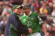 14 April 2002; Limerick manager Eamonn Cregan has a word with Mark Keane during the game. Allianz National Hurling League Quarter-final, Limerick v Clare, Semple Stadium, Thurles. Picture credit; Brian Lawless / SPORTSFILE