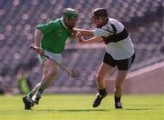 5 May 2001; Andrew O'Shaughnessy, St. Colman's, Fermoy, in action against Gort Community School's Richard Murphy. Gort Community School v St Colman's, Fermoy, All-Ireland Colleges Senior 'A' Hurling Final, Croke Park, Dublin. Hurling. Picture credit; Ray McManus / SPORTSFILE