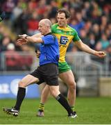 2 April 2017; Referee Cormac Reilly awards a penalty to Mayo despite the protests of Michael Murphy of Donegal during the Allianz Football League Division 1 Round 7 match between Mayo and Donegal at Elverys MacHale Park in Castlebar, Co Mayo. Photo by Stephen McCarthy/Sportsfile
