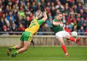 2 April 2017; Andy Moran of Mayo in action against Caolan Ward of Donegal during the Allianz Football League Division 1 Round 7 match between Mayo and Donegal at Elverys MacHale Park in Castlebar, Co Mayo. Photo by Stephen McCarthy/Sportsfile