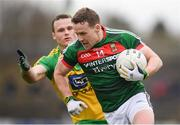 2 April 2017; Andy Moran of Mayo in action against Neil McGee of Donegal during the Allianz Football League Division 1 Round 7 match between Mayo and Donegal at Elverys MacHale Park in Castlebar, Co Mayo. Photo by Stephen McCarthy/Sportsfile