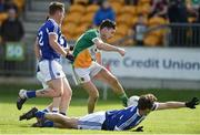 2 April 2017; Sean Cleary of Offaly scores his side's third goal despite the challenges of Padraic Maher, left, and John Meagher of Laois during the Allianz Football League Division 3 Round 7 match between Offaly and Laois at O'Connor Park in Tullamore, Co Offaly. Photo by David Maher/Sportsfile