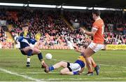 2 April 2017; Stefan Campbell of Armagh has his goal bound shot saved by Evan Comerford of Tipperary, as Brian Fox of Tipperary comes into block, during the Allianz Football League Division 3 Round 7 match between Armagh and Tipperary at the Athletic Grounds in Armagh. Photo by Oliver McVeigh/Sportsfile
