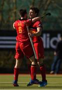 2 April 2017; Johnny McKee of Banbridge, left, celebrates after scoring his side's first goal with team mate Bruce McCandless during the Irish Senior Men's Hockey Cup Final match between Banbridge and Monkstown at the National Hockey Stadium UCD in Belfield, Dublin. Photo by David Fitzgerald/Sportsfile