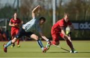 2 April 2017; Fraser Mills of Banbridge in action against Lee Cole of Monkstown during the Irish Senior Men's Hockey Cup Final match between Banbridge and Monkstown at the National Hockey Stadium UCD in Belfield, Dublin. Photo by David Fitzgerald/Sportsfile