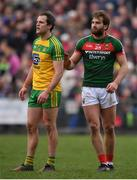 2 April 2017; Aidan O'Shea of Mayo and Michael Murphy of Donegal during the Allianz Football League Division 1 Round 7 match between Mayo and Donegal at Elverys MacHale Park in Castlebar, Co Mayo. Photo by Stephen McCarthy/Sportsfile