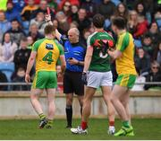 2 April 2017; Eamonn Doherty of Donegal receives a red card from referee Cormac Reilly during the Allianz Football League Division 1 Round 7 match between Mayo and Donegal at Elverys MacHale Park in Castlebar, Co Mayo. Photo by Stephen McCarthy/Sportsfile