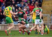 2 April 2017; Aidan O'Shea of Mayo goes to ground moments before Eamonn Doherty, right, of Donegal received a red card during the Allianz Football League Division 1 Round 7 match between Mayo and Donegal at Elverys MacHale Park in Castlebar, Co Mayo. Photo by Stephen McCarthy/Sportsfile