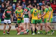 2 April 2017; Aidan O'Shea of Mayo lies on the ground moments before Eamonn Doherty, second from right, of Donegal received a red card during the Allianz Football League Division 1 Round 7 match between Mayo and Donegal at Elverys MacHale Park in Castlebar, Co Mayo. Photo by Stephen McCarthy/Sportsfile
