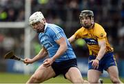 2 April 2017; Liam Rushe of Dublin in action against Tony Kelly of Clare during the Allianz Hurling League Division 1 Relegation Play-Off match between Clare and Dublin at Cusack Park in Ennis, Co Clare. Photo by Diarmuid Greene/Sportsfile