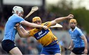 2 April 2017; Jason McCarthy of Clare in action against Shane Barrett of Dublin during the Allianz Hurling League Division 1 Relegation Play-Off match between Clare and Dublin at Cusack Park in Ennis, Co Clare. Photo by Diarmuid Greene/Sportsfile