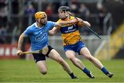 2 April 2017; Tony Kelly of Clare in action against Oisin Gough of Dublin during the Allianz Hurling League Division 1 Relegation Play-Off match between Clare and Dublin at Cusack Park in Ennis, Co Clare. Photo by Diarmuid Greene/Sportsfile