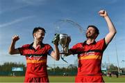 2 April 2017; Johnny McKee, left, and Dane Ward of Banbridge celebrate with the trophy following their side's victory in the Irish Senior Men's Hockey Cup Final match between Banbridge and Monkstown at the National Hockey Stadium UCD in Belfield, Dublin. Photo by David Fitzgerald/Sportsfile