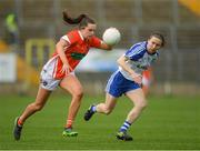 2 April 2017; Aimee Mackin of Armagh in action against Sharon Courtney of Monaghan during the Lidl Ladies Football National League Round 7 match between Monaghan and Armagh at St. Tiernach's Park in Clones, Co Monaghan. Photo by Ray McManus/Sportsfile