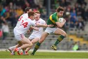 2 April 2017; David Moran of Kerry in action against, from left, Colm Cavanagh, Conor Meyler and Peter Harte of Tyrone during the Allianz Football League Division 1 Round 7 match between Kerry and Tyrone at Fitzgerald Stadium in Killarney, Co Kerry. Photo by Cody Glenn/Sportsfile