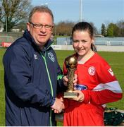 2 April 2017; Ben O'Looney of the FAI presents Emily Whelan of Shelbourne LFC with the player of the match award after the FAI Women's U16 Cup Final match between Shelbourne LFC and Enniskerry FC at Home Farm FC in Whitehall, Dublin. Photo by Stephen McMahon/Sportsfile