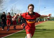 2 April 2017; Ross Beattie of Banbridge runs from the bench onto the field at the final whistle to celebrate his side's victory following the Irish Senior Men's Hockey Cup Final match between Banbridge and Monkstown at the National Hockey Stadium UCD in Belfield, Dublin. Photo by David Fitzgerald/Sportsfile
