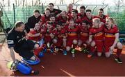 2 April 2017; Banbridge players celebrate following their side's victory in the Irish Senior Men's Hockey Cup Final match between Banbridge and Monkstown at the National Hockey Stadium UCD in Belfield, Dublin. Photo by David Fitzgerald/Sportsfile