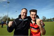2 April 2017; Banbridge manager Colin Walker, left, and Banbridge captain Johnny McKee celebrate their side's victory following the Irish Senior Men's Hockey Cup Final match between Banbridge and Monkstown at the National Hockey Stadium UCD in Belfield, Dublin. Photo by David Fitzgerald/Sportsfile