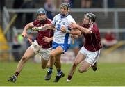 2 April 2017; Maurice Shanahan of Waterford in action against Conor Cooney, left, and Pádraic Mannion of Galway during the Allianz Hurling League Division 1 Quarter-Final match between Galway and Waterford at Pearse Stadium in Galway. Photo by Piaras Ó Mídheach/Sportsfile
