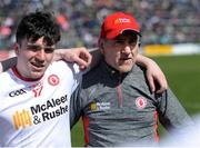 2 April 2017; Tyrone manager Mickey Harte with Lee Brennan of Tyrone in the huddle ahead of the Allianz Football League Division 1 Round 7 match between Kerry and Tyrone at Fitzgerald Stadium in Killarney, Co Kerry. Photo by Cody Glenn/Sportsfile