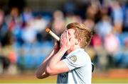 2 April 2017; Jason Lynch of Monkstown reacts at the final whistle following his side's defeat in the Irish Senior Men's Hockey Cup Final match between Banbridge and Monkstown at the National Hockey Stadium UCD in Belfield, Dublin. Photo by David Fitzgerald/Sportsfile