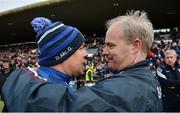 2 April 2017; Waterford manager Derek McGrath, left, and Galway manager Michéal Donoghue in conversation after the Allianz Hurling League Division 1 Quarter-Final match between Galway and Waterford at Pearse Stadium in Galway. Photo by Piaras Ó Mídheach/Sportsfile