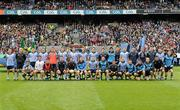 18 September 2011; The Dublin squad, back row, left to right, Paul Conlon, Eoghan O'Gara, Diarmuid Connolly, Paul Casey, James McCarthy, Ross McConnell, Michael Darragh Macauley, Barry Cahill, Michael Fitzsimons, Bernard Brogan, Cian O'Sullivan, Éamon Fennell, Denis Bastick, Declan Lally, Paul Brogan, Michael McCarthy, and Philip McMahon, front row, left to right, Craig Dias, Ger Brennan, Rory O'Carroll, Kevin Nolan, Bryan Cullen, Stephen Cluxton, Paul Flynn, Alan Brogan, David Henry, Tomás Quinn, Dean Kelly, Kevin McManamon, Seán Murray, Ross O'Carroll, and Michael Savage.. GAA Football All-Ireland Senior Championship Final, Kerry v Dublin, Croke Park, Dublin. Picture credit: Pat Murphy / SPORTSFILE