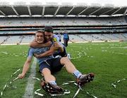 18 September 2011; Dublin's Paul Flynn celebrates with team-mate Bernard Brogan after the match. GAA Football All-Ireland Senior Championship Final, Kerry v Dublin, Croke Park, Dublin. Picture credit: Brian Lawless / SPORTSFILE