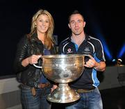 19 September 2011; Dublin's Declan Lally and Eimear Brogan, with the Sam Maguire Cup, at the 'Homecoming Celebrations' for the GAA Football All-Ireland Senior Championship winners. Dublin Football Squad Homecoming Celebrations, Mansion House, Dawson Street, Dublin. Picture credit: Ray McManus / SPORTSFILE
