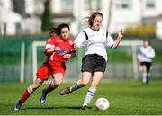 2 April 2017; Emily Whelan of Shelbourne LFC in action against Kerrianne Murphy of Enniskerry FC during the FAI Women's U16 Cup Final match between Shelbourne LFC and Enniskerry FC at Home Farm FC in Whitehall, Dublin. Photo by Stephen McMahon/Sportsfile