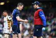 1 April 2017; Jonathan Sexton of Leinster is treated for an injury by team doctor Dr Jim O'Donovan during the European Rugby Champions Cup Quarter-Final match between Leinster and Wasps at Aviva Stadium in Dublin. Photo by Ramsey Cardy/Sportsfile
