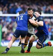 1 April 2017; Willie Le Roux of Wasps is tackled by Robbie Henshaw, left, and Jack Conan of Leinster during the European Rugby Champions Cup Quarter-Final match between Leinster and Wasps at Aviva Stadium in Dublin. Photo by Ramsey Cardy/Sportsfile