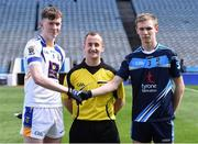 1 April 2017; Referee Brendan Cawley with Nathan Moran captain of Ballinrobe Community School and Conor Quinn captain of St Ciaran's, Ballygawley before the Masita GAA All Ireland Post Primary Schools Paddy Drummond Cup Final match between Ballinrobe Community School and St Ciaran's, Ballygawley at Croke Park, in Dublin. Photo by Matt Browne/Sportsfile