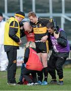 15 February 2014; Colm Cooper, Dr. Crokes, is helped off the pitch after receiving an injury. AIB GAA Football All-Ireland Senior Club Championship, Semi-Final, Castlebar Mitchels, Mayo v Dr. Crokes, Kerry. O'Moore Park, Portlaoise, Co. Laois. Picture credit: Paul Mohan / SPORTSFILE