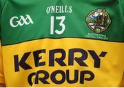 3 July 2011; A detail view of a Kerry football jersey. Munster GAA Football Senior Championship Final, Kerry v Cork, Fitzgerald Stadium, Killarney, Co. Kerry. Picture credit: Brendan Moran / SPORTSFILE
