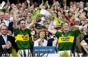 17 September 2006; Kerry captain Declan O'Sullivan, left, and stand-in captain Colm Cooper lift the Sam Maguire Cup. Bank of Ireland All-Ireland Senior Football Championship Final, Kerry v Mayo, Croke Park, Dublin. Picture credit: Brendan Moran / SPORTSFILE