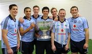 18 September 2011; Members of the Dublin setup from the Kilmacud Crokes GAA Club, left to right, Rory O'Carroll, Craig Dias, Kevin Nolan, Cian O'Sullivan, Paul Griffin, Paddy O'Donoghue, and Ross O'Carroll, with the Sam Maguire Cup. GAA Football All-Ireland Senior Championship Final, Kerry v Dublin, Croke Park, Dublin. Picture credit: Ray McManus / SPORTSFILE